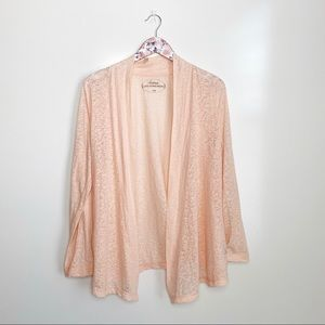 SOMA Slub Open Front Cardigan Orange Peach Large